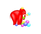 Animal Circus Elephant  red Vector Free Clipart