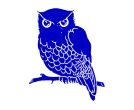 Owl Blue Birds Vector Cliparts